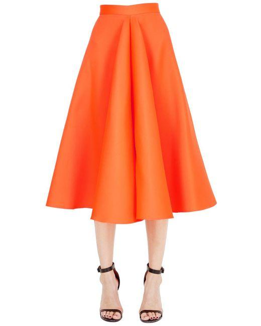 Maison Rabih Kayrouz | Orange Flared Techno & Silk Satin Midi Skirt | Lyst