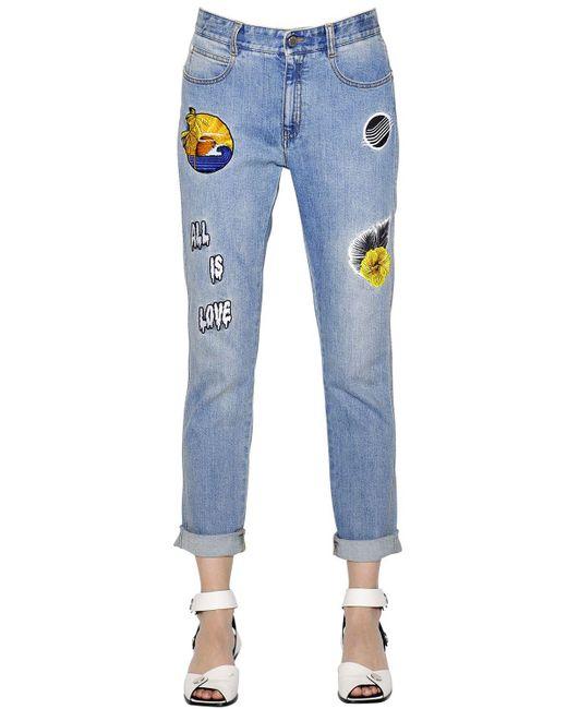 Stella McCartney | Blue Skinny Boyfriend Patches Denim Jeans | Lyst