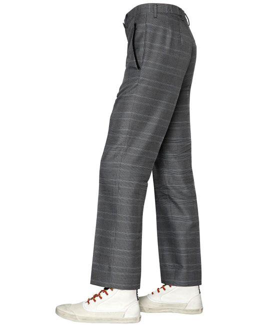 Lanvin 21cm Wool Blend Plaid Pants in Gray for Men | Lyst