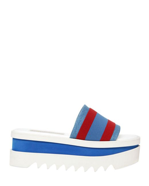Stella McCartney   Blue Striped Fabric Platform Slide Sandal   Lyst