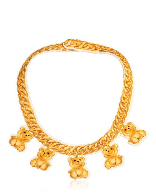 Moschino | Metallic Teddy Bear Chain Print Neoprene Necklace | Lyst