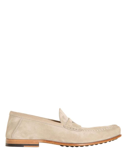 Tod's   White Suede Penny Loafers for Men   Lyst