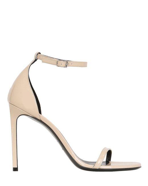 Saint Laurent | Natural 110mm Jane Patent Leather Sandals | Lyst