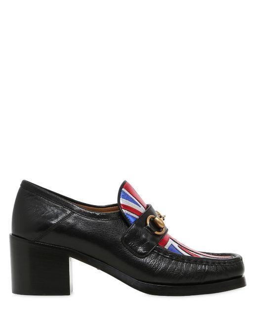 Gucci   Black Vegas Union Jack Horsebit Leather Pumps   Lyst