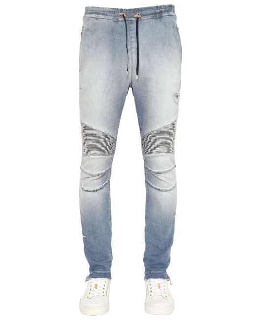 Balmain | Blue Biker Cotton Jersey Sweatpants for Men | Lyst