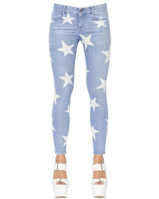 Stella McCartney | Blue Skinny Stars Printed Stretch Denim Jeans | Lyst
