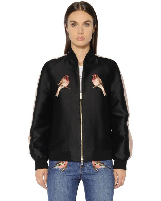 Stella McCartney | Black Embroidered Cotton Silk Duchesse Bomber | Lyst