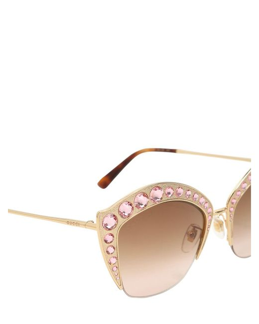 Gucci Pink Swarovski Cat-eye Sunglasses in Pink | Lyst