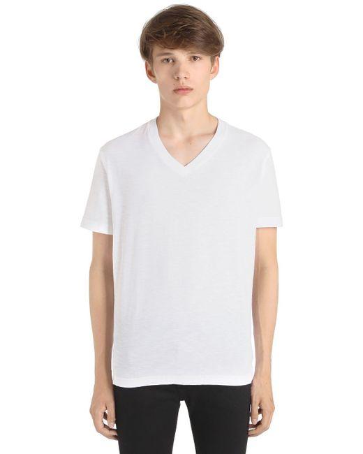 Diesel v neck slub cotton jersey t shirt in white for men for Mens diesel v neck t shirts