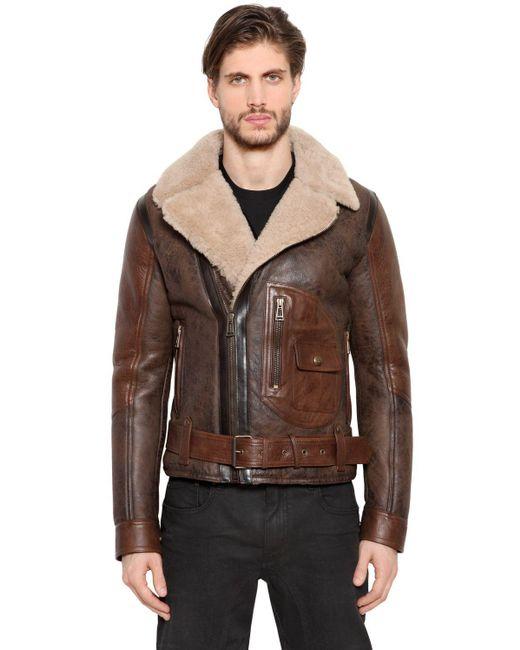Belstaff | Brown Danescroft Shearling Aviator Jacket for Men | Lyst
