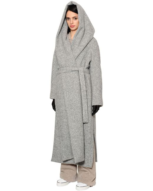 Max Mara   Gray Oversized Hooded Alpaca Long Coat   Lyst