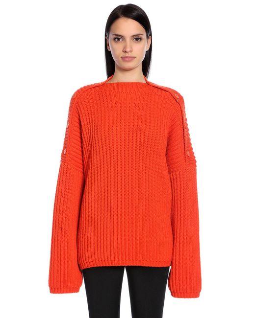 Sportmax   Orange Stretch Wool Rib Knit Sweater   Lyst