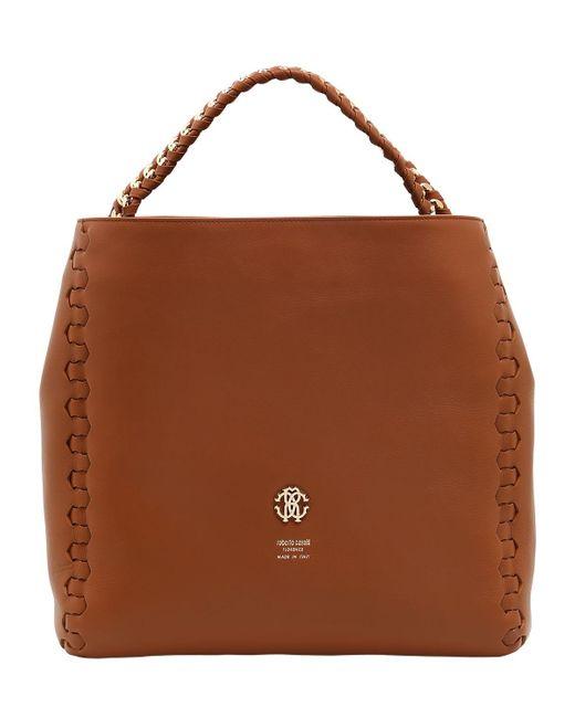 Roberto Cavalli | Brown Regina Leather Shoulder Bag | Lyst