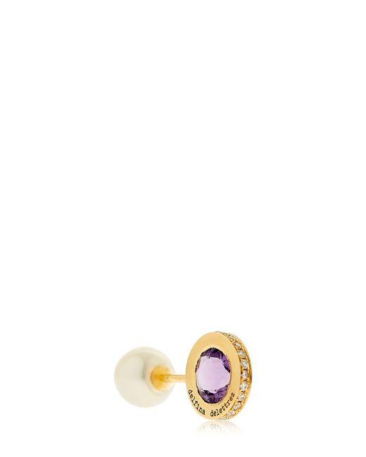 Delfina Delettrez   Metallic Seal Gold Amethyst & Pearl Mono Earring   Lyst