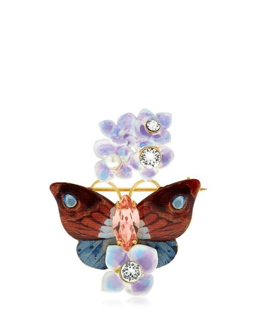 Dolce & Gabbana | Multicolor Butterfly And Hydrangea Pin | Lyst