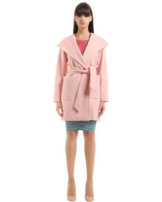 Max Mara | Pink Morfeo Hooded Drap Camel Trench Coat | Lyst