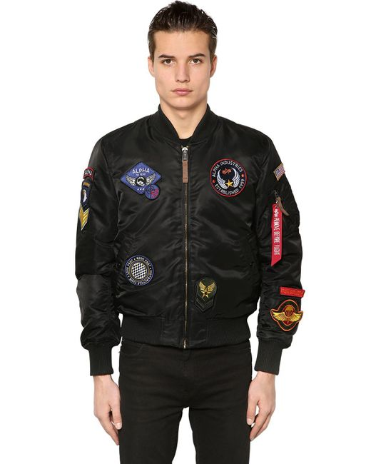Alpha Industries   Black Ma-1 Vf Slim Bomber Jacket W/ Patches for Men   Lyst