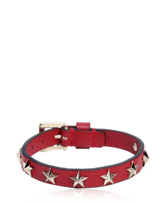 RED Valentino | Red Leather Bracelet W/ Star Studs | Lyst