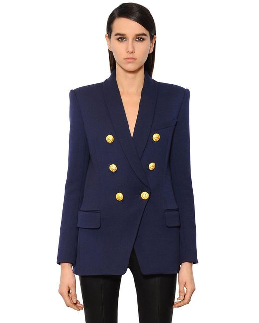 Balmain | Blue Double-breasted Wool-twill Jacket | Lyst