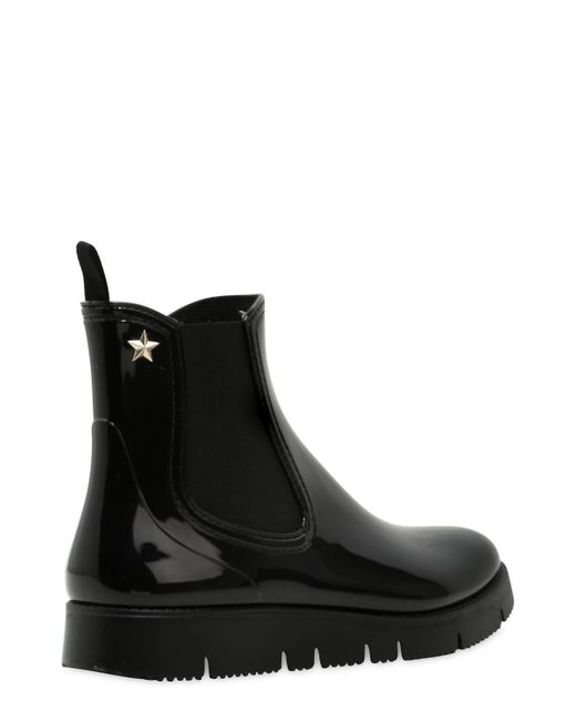 Red Valentino 20mm Pvc Shiny Rain Boots In Black Lyst