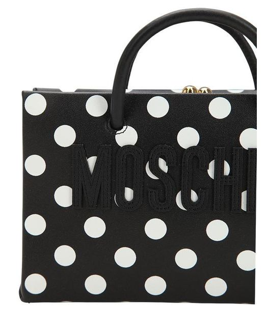 47017199a54c ... Moschino - Black Dot Logo Printed Leather Shoulder Bag - Lyst ...