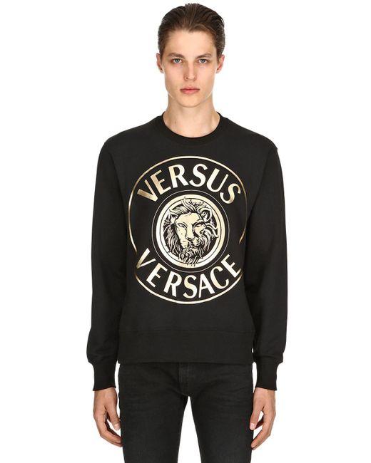 Versus  - Black Lion Printed Cotton Sweatshirt for Men - Lyst