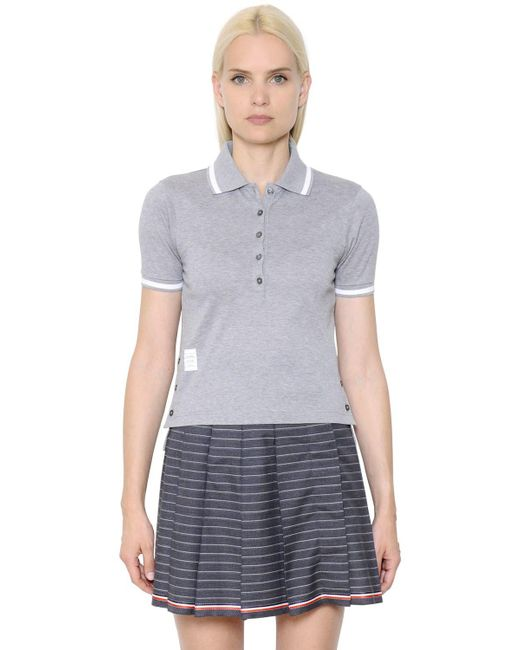 Thom Browne | Gray Cotton Piqué Polo Shirt | Lyst