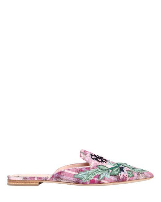Alberta Ferretti - Pink 10mm Mia Embroidered Plaid Cotton Mules - Lyst