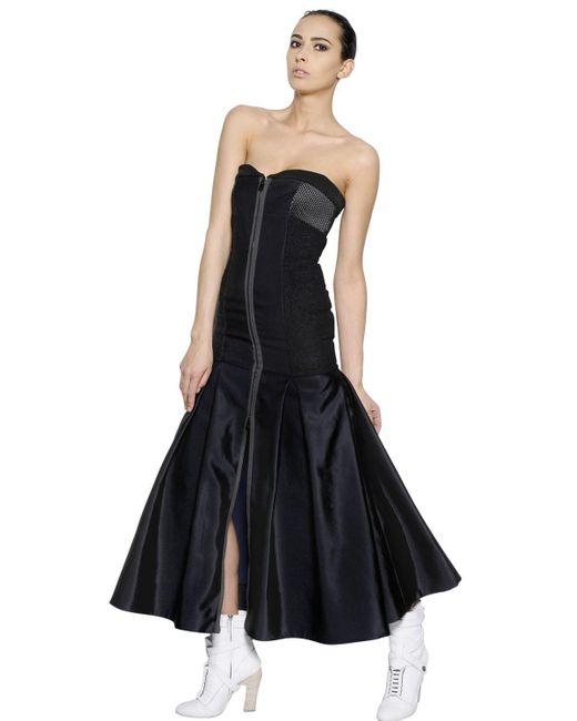 Fendi | Blue Strapless Bustier Techno Silk Dress | Lyst