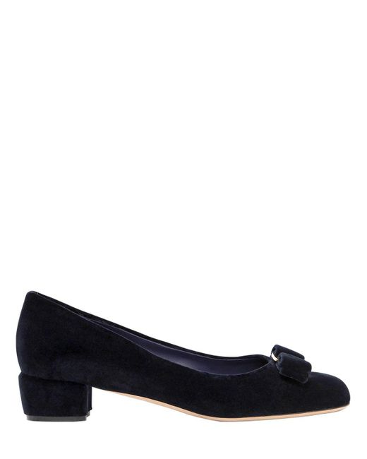 Ferragamo | Blue 30mm Vara Velvet Pumps | Lyst