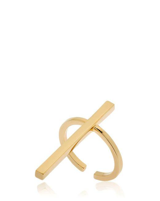 Schield - Metallic Cross Brass Ring - Lyst