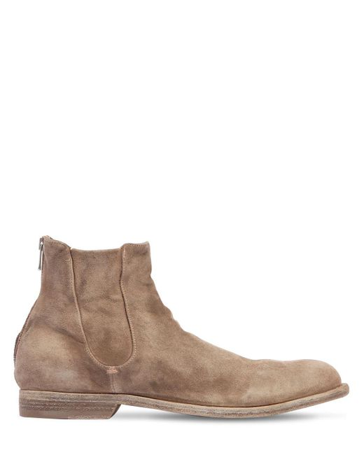 Officine Creative - Natural Washed Suede Cropped Boots - Lyst