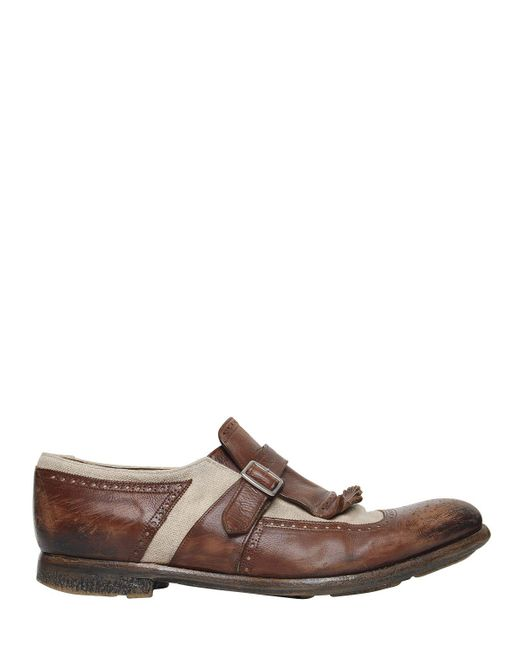 Church's - Brown Shanghai Washed Leather & Linen Shoes for Men - Lyst