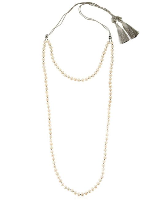 Night Market | Metallic Double Strand Pearl Necklace | Lyst