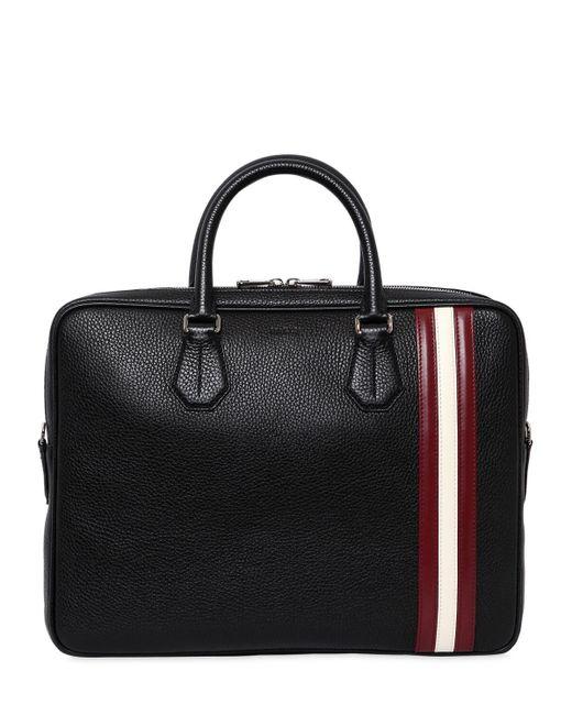 Bally Black Logo Stripe Pebbled Leather Briefcase for men