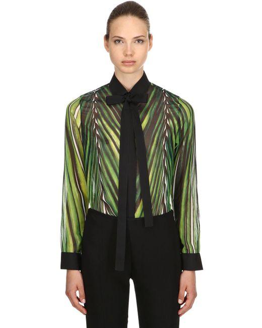 Elie Saab - Green Printed Crepe Georgette Shirt - Lyst