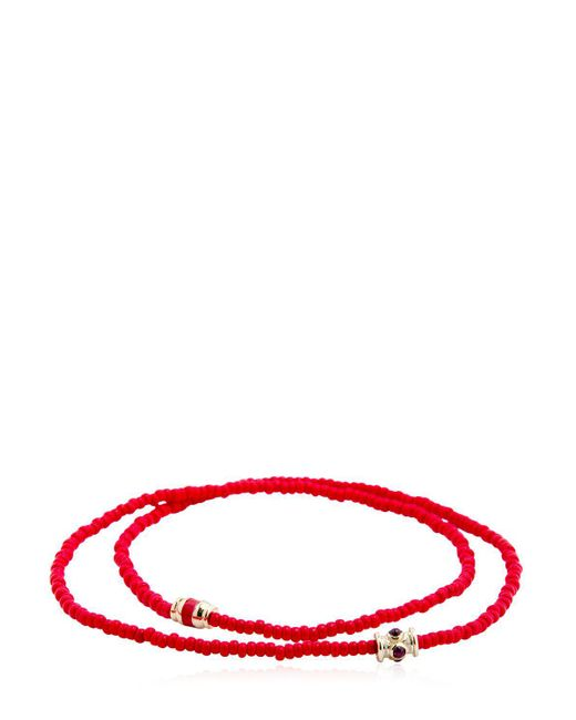 Luis Morais - Red Ruby Barrel Double Wrap Bracelet for Men - Lyst