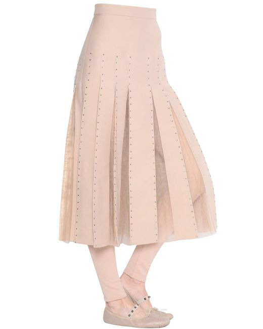 Valentino | Pink Embellished Crepe Couture & Tulle Skirt | Lyst
