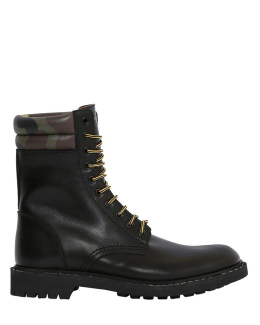 Givenchy | Black Leather Lace-up Military Boots for Men | Lyst