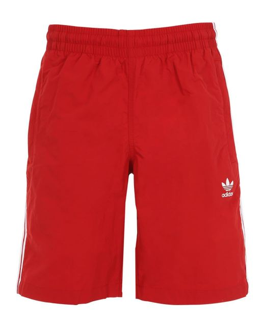 Adidas Originals - Red Bañador De Short De Nylon Con Rayas for Men - Lyst