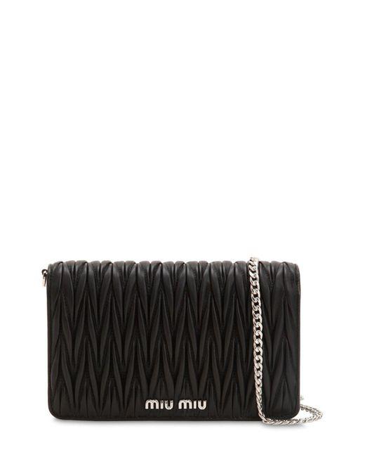 a6775686e4bb Miu Miu - Black Mini Delice Quilted Leather Shoulder Bag - Lyst ...