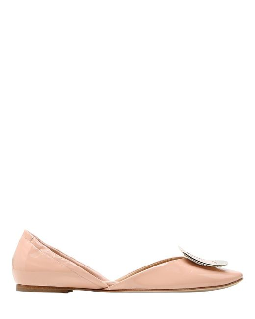 Roger Vivier   Natural 10mm Chips Patent Leather D'orsay Flats   Lyst