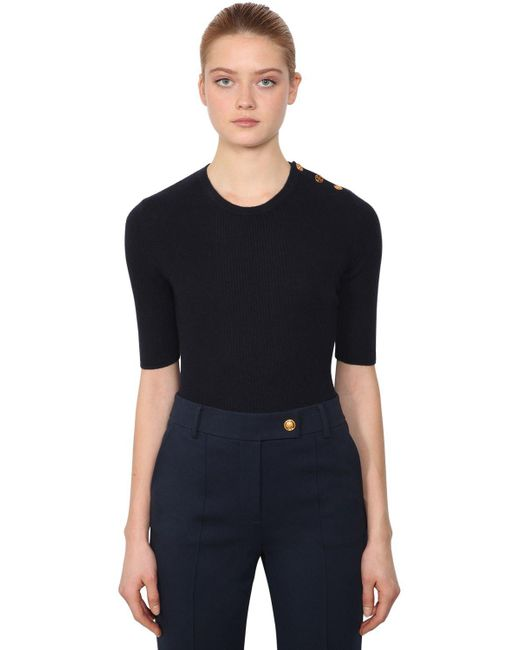 Tory Burch - Blue Short Sleeve Cashmere Knit Sweater - Lyst