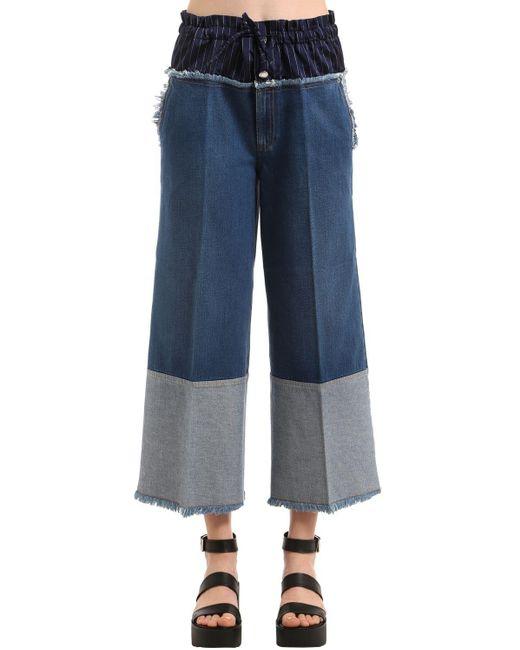 Sonia Rykiel Blue Cropped Denim Jeans W/ Boxer Waist