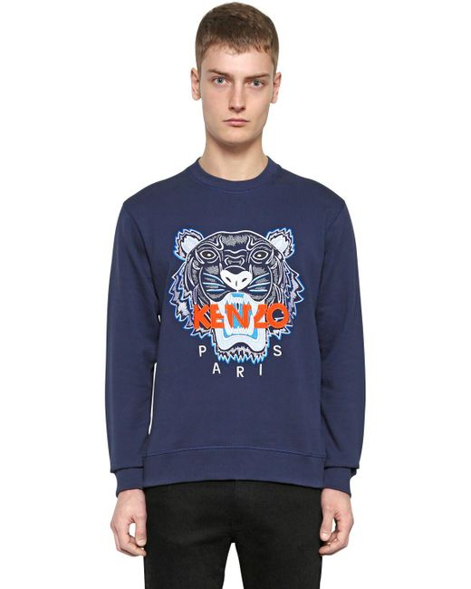 KENZO | Blue Tiger Embroidered Cotton Sweatshirt for Men | Lyst