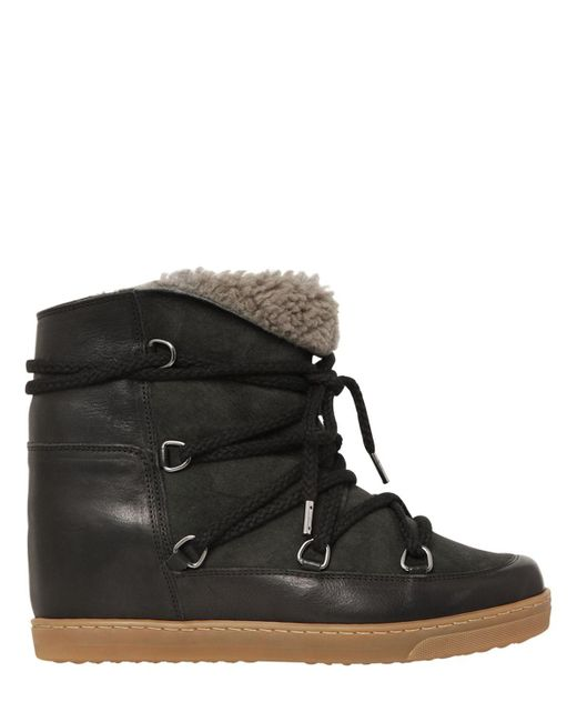 Isabel Marant - Black Etoile 70mm Nowles Suede Shearling Boots - Lyst