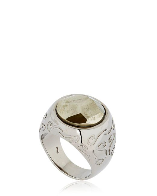 MARCO DAL MASO - White Ara Engraved Ring With Pyrite - Lyst
