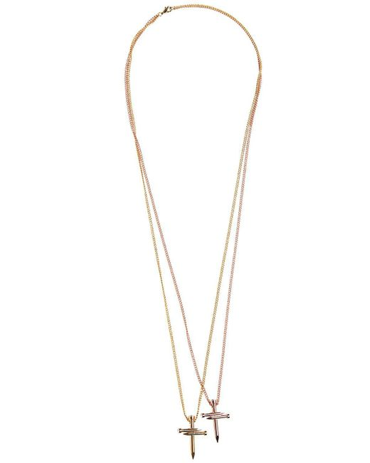 DSquared² | Metallic Double Nail Crosses Necklace | Lyst
