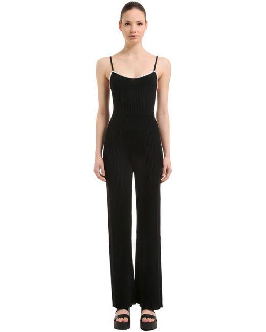 Sonia Rykiel - Black Wool Rib Knit Jumpsuit - Lyst