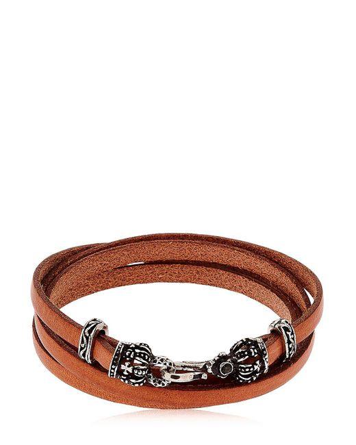 Alcozer & J | Brown Crowns Leather Wrap Bracelet | Lyst